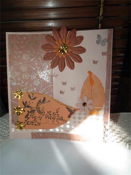 Birds Butterflies & Flowers.Mothers day card handmade sparkly gift for mum large
