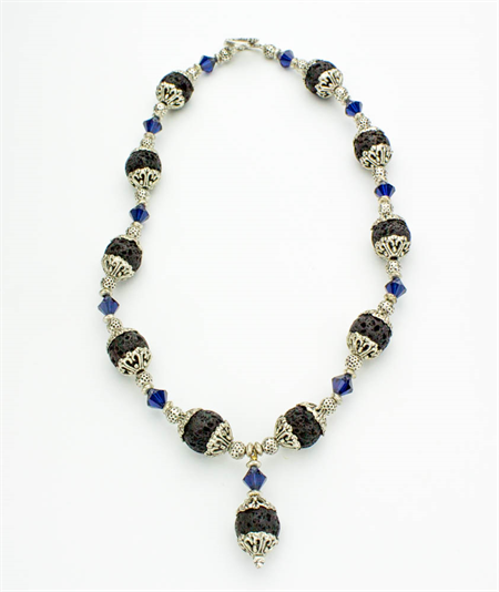 Lava, Swarovski Crystal and Tibetan Silver Necklace with Matching Earrings