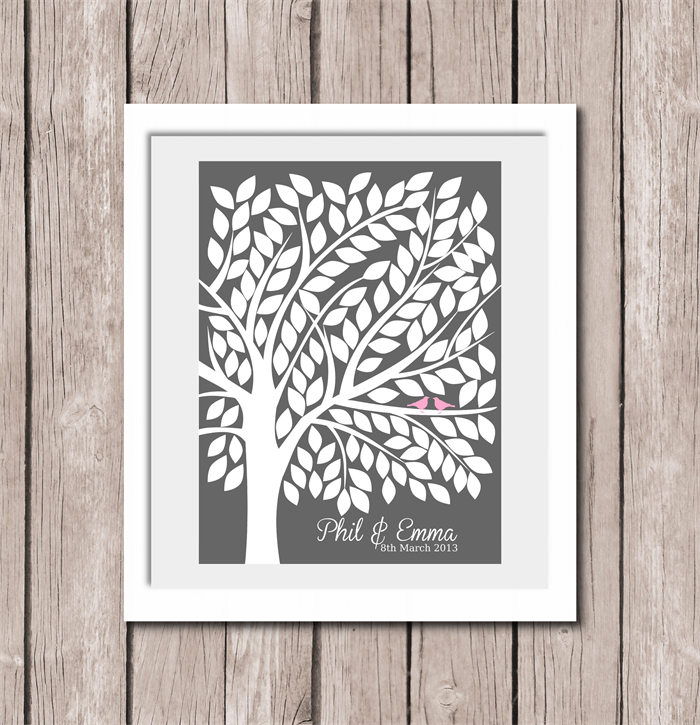12 x16 a3 personalised wedding tree signature guest book print