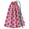 Drawstring Library or Toy Bag. Flowers in Pink. Radiant Orchid & Turquoise.