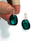 Austrian Swarovski Emerald green graphic pendant crystal silver drop earrings