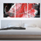 TORRENT- Original Abstract Triptych Canvas Painting, red white black