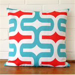 Outdoor Cushion Cover - Red and Aqua Retro Print