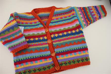 Boho Orange  Cardigan - Size 6-12 months  - Hand knitted