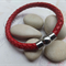 Unisex Red Plaited Leather Bracelet
