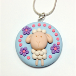 sweet lamb polymer clay necklace + sterling silver necklace + free shipping