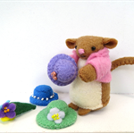 Felt Mouse Magnetic Toy with hats - Miniature doll house animal