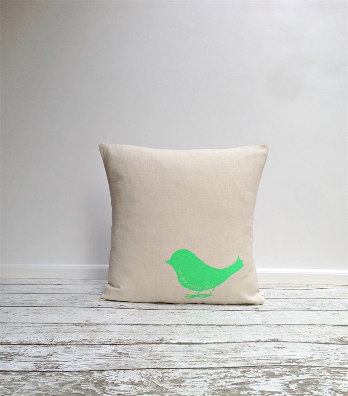 Small Green Throw Pillow : Cushion Cover, Pillow Cover, Throw Pillow - Green Small Bird - 40x40cm agnes&you madeit.com.au