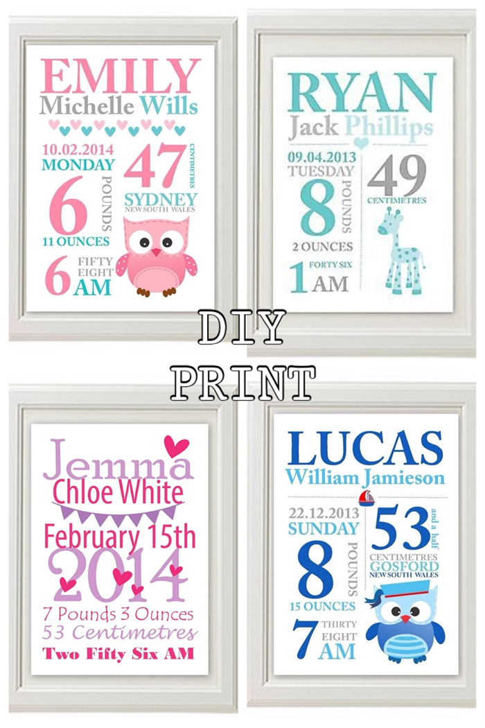 Custom Baby Birth Print Announcement Nursery Wall Art DIY PRINT – Birth Announcement Art