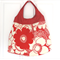 Large Red Floral Sateen Tote Shoulder Bag with Vinyl Handles