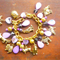 Dog Breeds 12 Charms, Purple Bracelet, Gold tone Pewter Free Postage