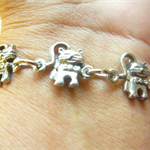 Cats, cute standing Pewter charm bracelet