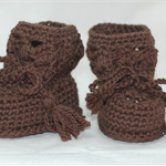 Baby Shoes, 0 to 6 months, Crochet, Baby Boy, Booties, Boots, Brown
