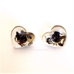 CLOSING DOWN SALE  Steampunk vintage watch part resin heart post studs earrings