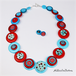 Teal Red - Handmade Ceramic Buttons - Jewellery - Bonus stud Earrings