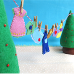 Felt Clothes line - Miniature clothes, pegs, trees