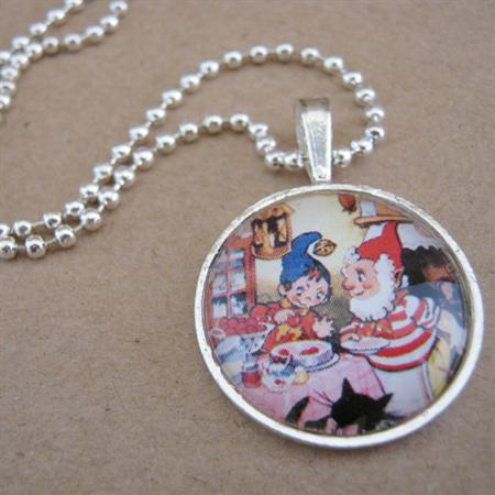 'Noddy & Big Ears' glass cabochon necklace