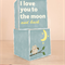 Love you to The Moon and Back Vintage Wooden Blocks Slate 7cm