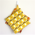 2 x Reversible Pot Holders - Yellow Boho Flowers & Autumn stripes