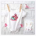 Baby Girl Easter Bunny Bodysuit - baby, pink, rabbit, girl, bodysuit, onesie
