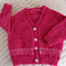 Size 12 mths (+) hand knitted cardigan in light plum by CuddleCorner: washable