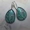 Aqua Cherry Blossom Teardrop Earrings