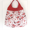 Large Red Paisley Tote Shoulder Bag with Vinyl Handles