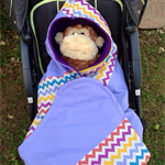 Secure and snug Baby pram / stroller wrap blanket with hood and fleece lining