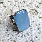 Brooke Cocktail Ring Vintage Glass Stone Pale Blue Octagon Statement Estate