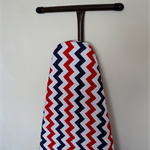 Ironing Board Cover - Red Navy Blue and white Chevron zig zag