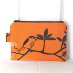Orange Bird Medium Zippered Pouch