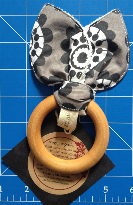 Maple Teething ring with Organic Cotton cloth
