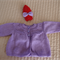 Size 3-9 month (+) hand knitted baby Jacket /Cardigan  (purple) & beanie (red)