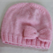 Girls Hand knitted Hat with Bow | NB-6M | Made to Order |Custom Colour Choice