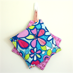 2 x Reversible Pot Holders - Candy flowers on blue & bikes with baskets on pink.