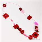 Knot Just a Button Red and Pink Cotton Button - Necklace - Beads