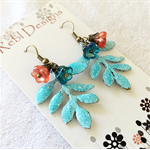 Vintage style Leaf and flower Earrings