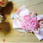 SPARKLE LISH- pink bow and pink sparkle flower on white headband