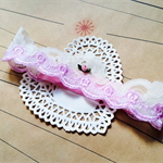 LACE TIARA- pink & cream lace headband