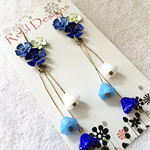 Hand Coloured Flower Studs in shades of Blue,