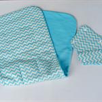 Blue Chevron pattern universal pram liner with matching seatbelt covers