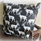 Deer, Stag, Antler Black & White Japanese Cotton Cushion Cover,Double Sided, Geo