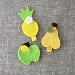 Hair clip, value pack of 3 fruit, apple, pear, pineapple, yellow