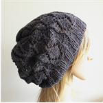 Hand knit fine silk angora dark grey beret slouchy hat women winter beanie
