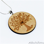 Tree of Life Pendant - Natural - Laser Etched Button Silver plated Chain