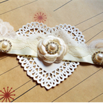 LACE PEARL TIARA- cream lace and pearl headband