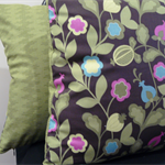 Cushion Covers - Green ivy flowers with pink and blue Set of 2