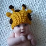 Baby Giraffe Hat / Beanie - Newborn to 3 Months / Photography Prop