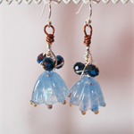 Handmade Blue Lampwork Flowers and Wirework Earrings