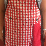 """Ants in the kitchen"" red , white and black  apron with attached hand towel"